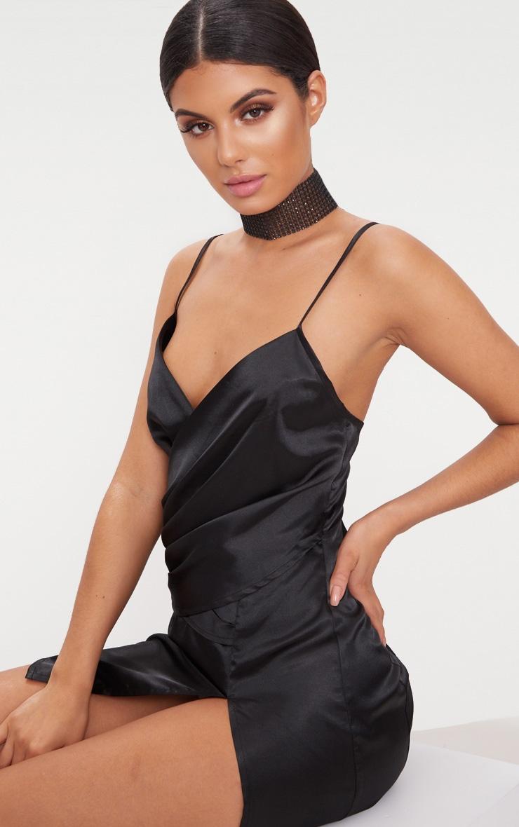 Black Strappy Satin Pleated Wrap Dress 5