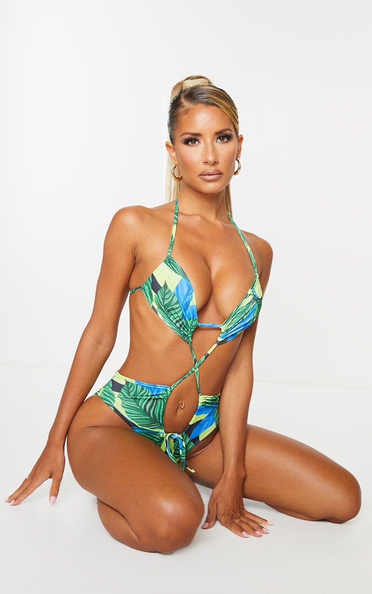 Green Leaf Extreme Cut Out Tie Front Swimsuit 1