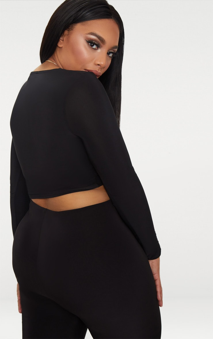 Plus Black Second Skin Long Sleeve V Neck Crop Top 3