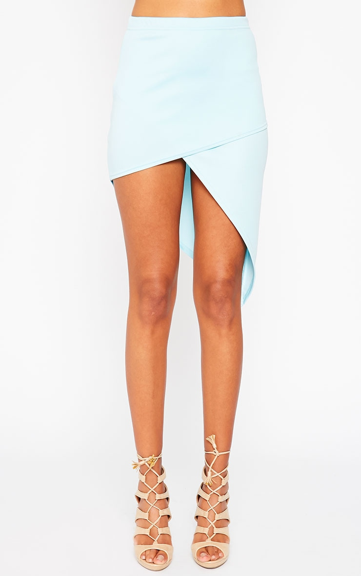 Tiff Powder Blue Wrap Hem Scuba Skirt 2