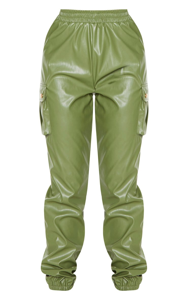Tall Khaki Faux Leather Pocket Detail Jogger 3