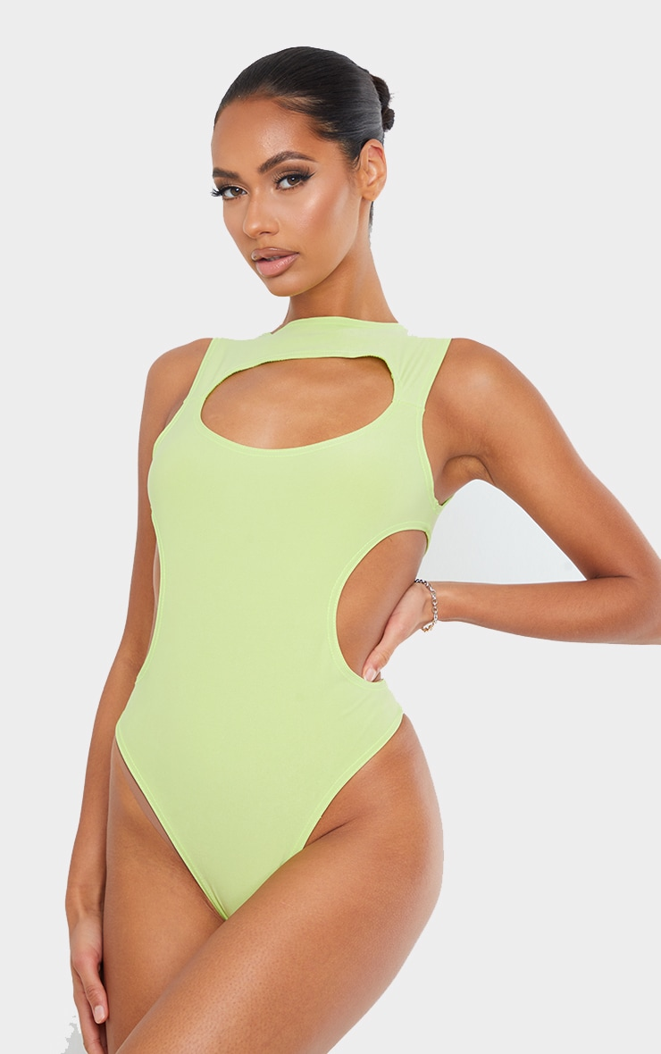 Lime Slinky Front Cut Out Racer Bodysuit 2