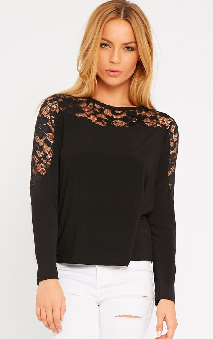 Loretta Black Long Sleeve Lace Panel Top 1