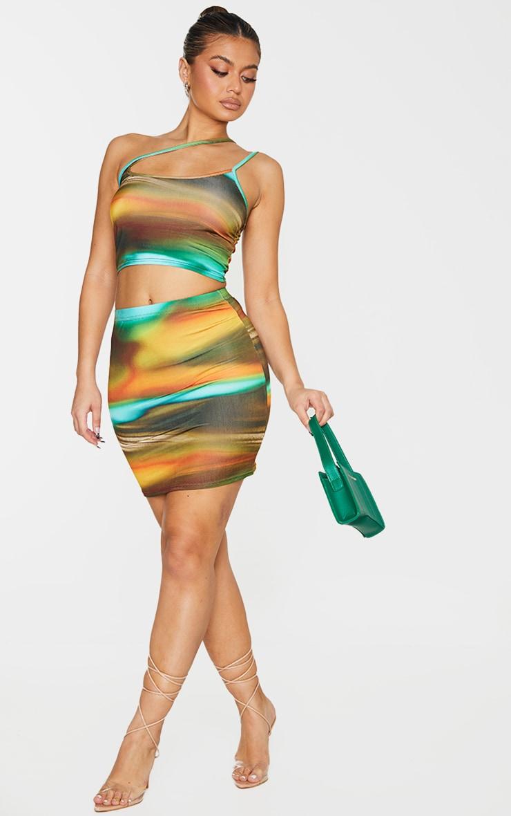 Green Abstract Print Slinky Asymmetric Strap Detail Crop Top 3