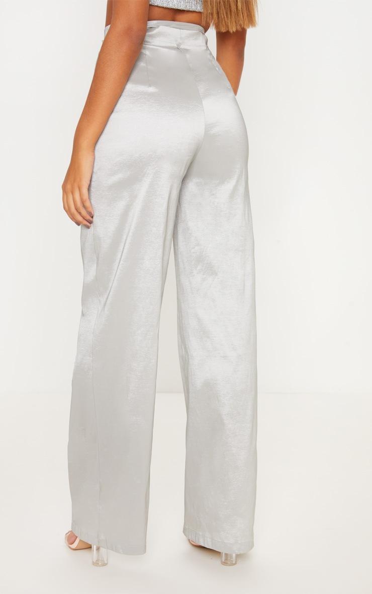 Silver Metallic Tie Waist Wide Leg Trouser 4