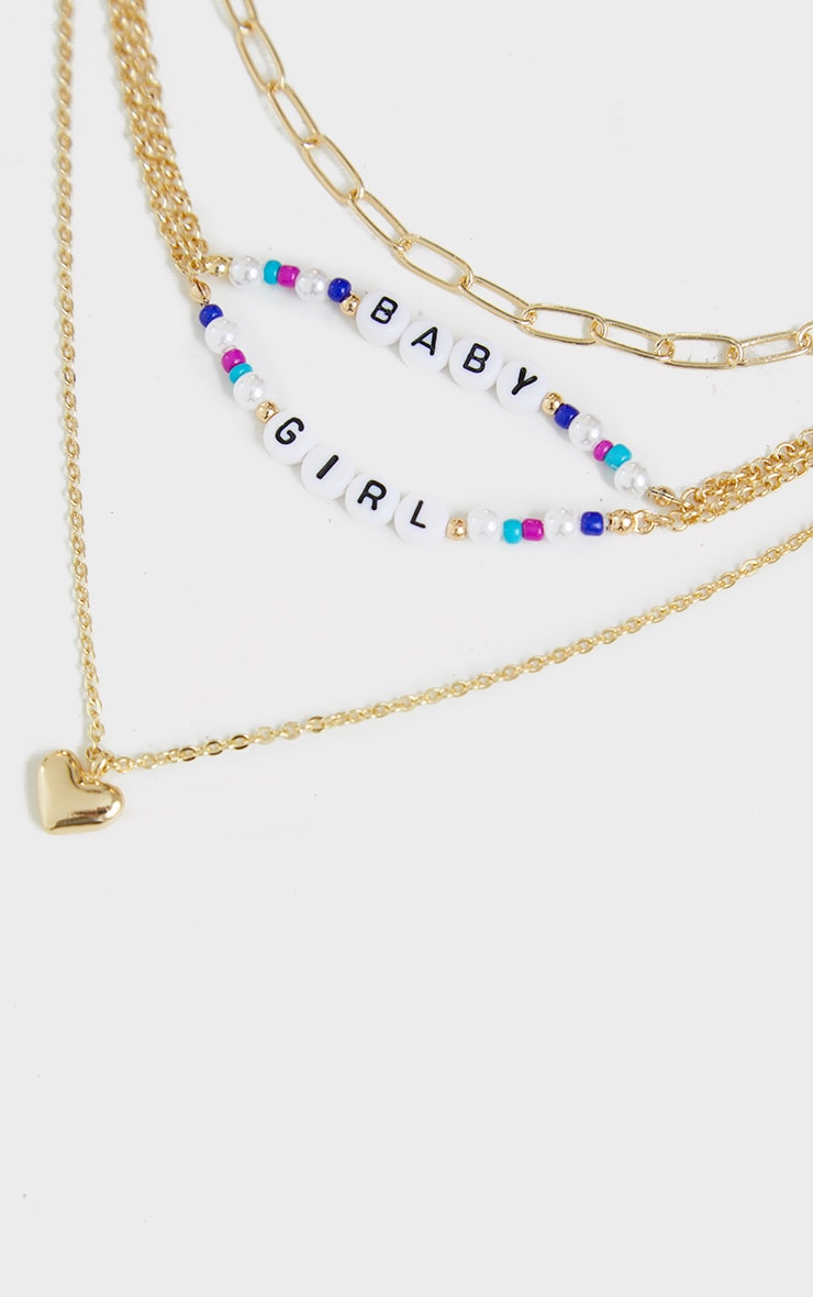 Gold Layering Baby Girl Beaded Necklace 4