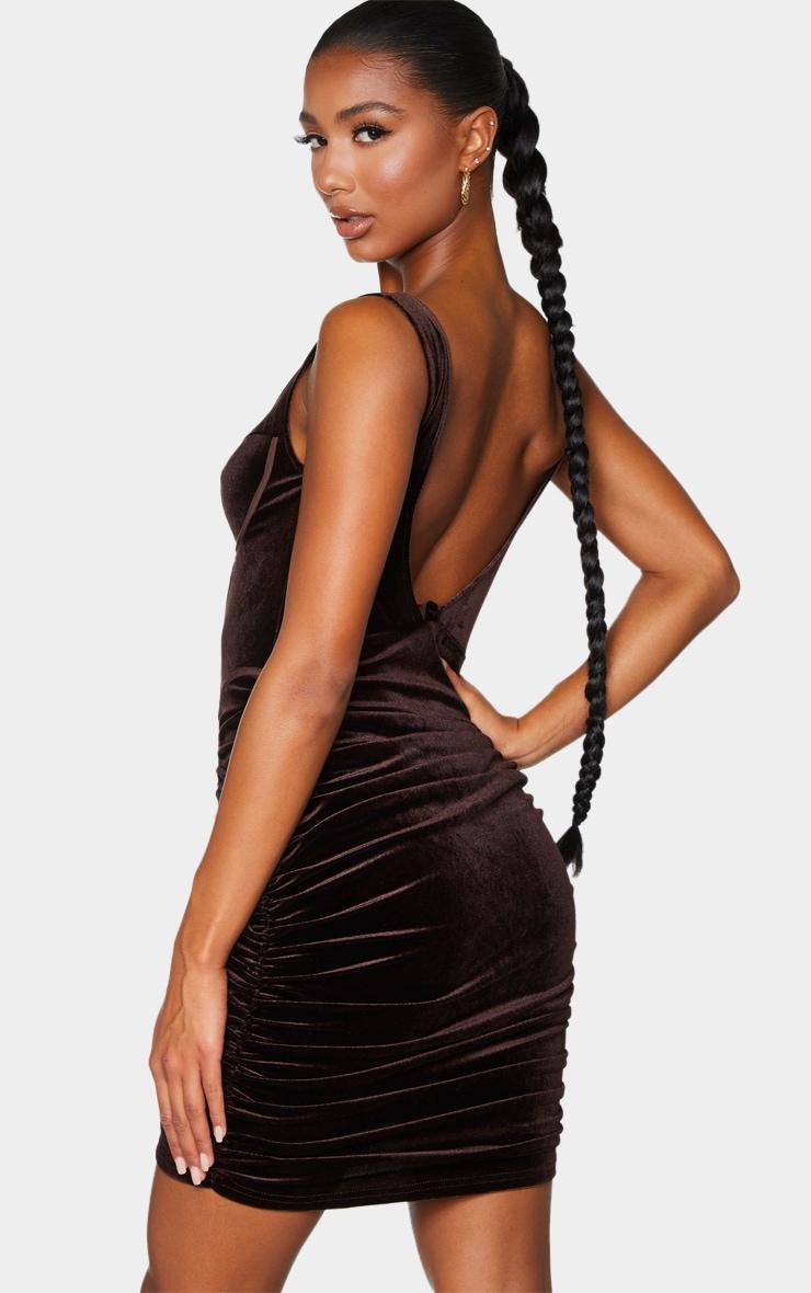 Chocolate Velvet Corset Ruched Binding Detail Bodycon Dress 2