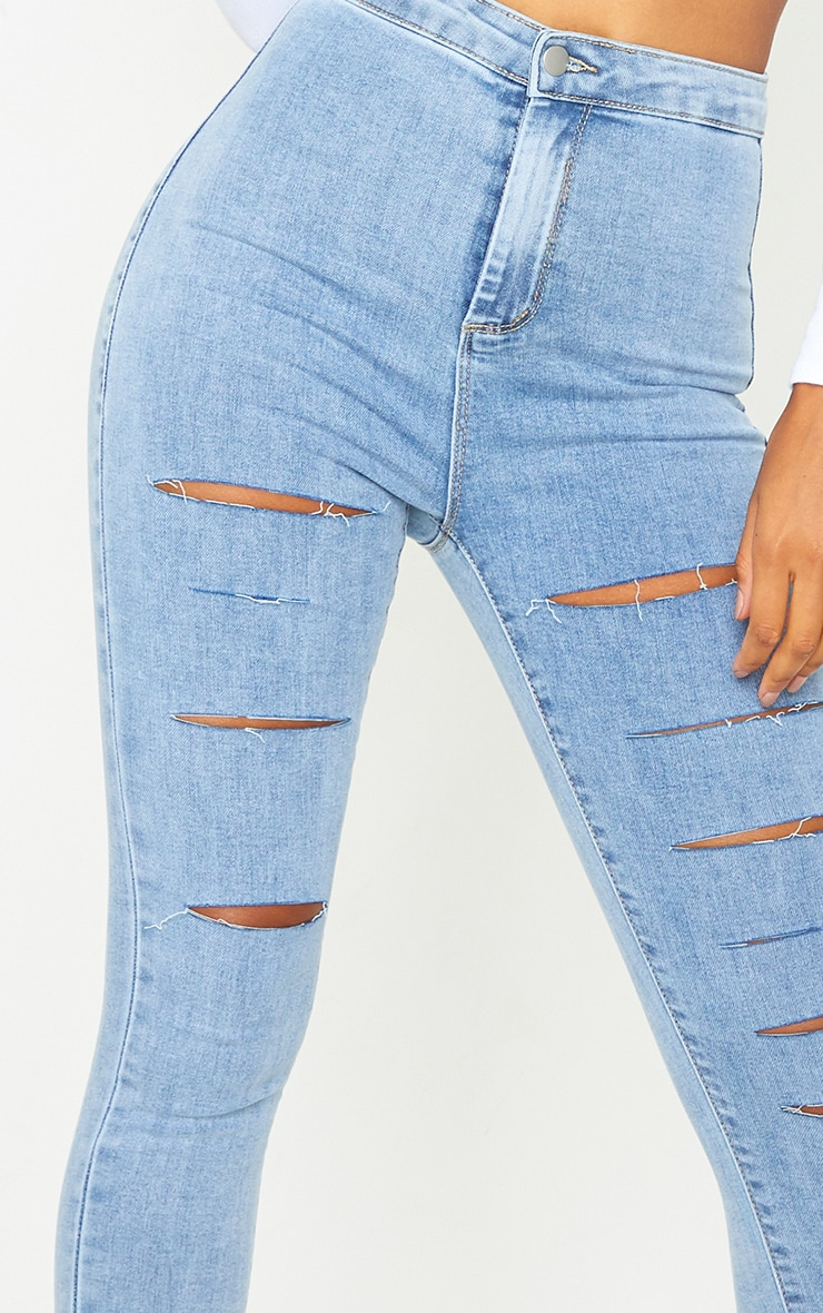PRETTYLITTLETHING Vintage Wash Rip Distressed Disco Skinny Jeans 4