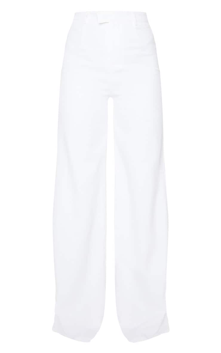 Reemah Cream Wide Leg Crepe Pants 5