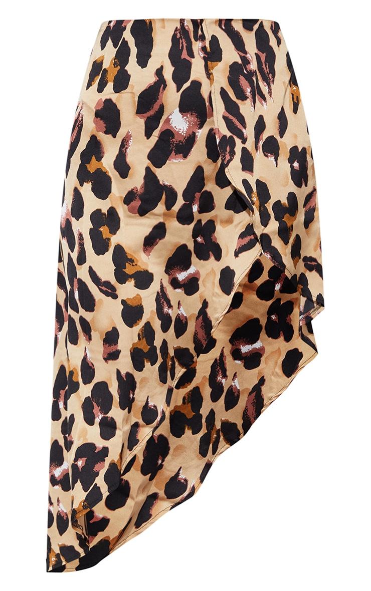 Leopard Print Satin Asymmetric Skirt 5