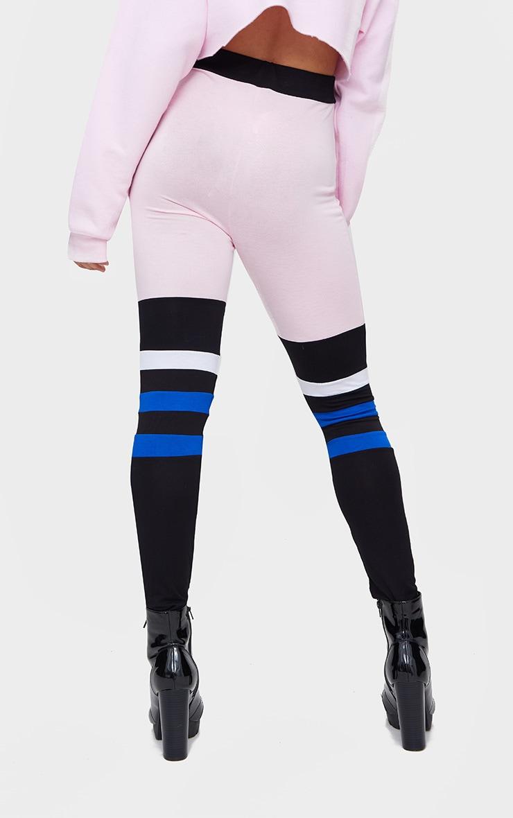 Pink Jersey Colourblock Stripe Leggings 4