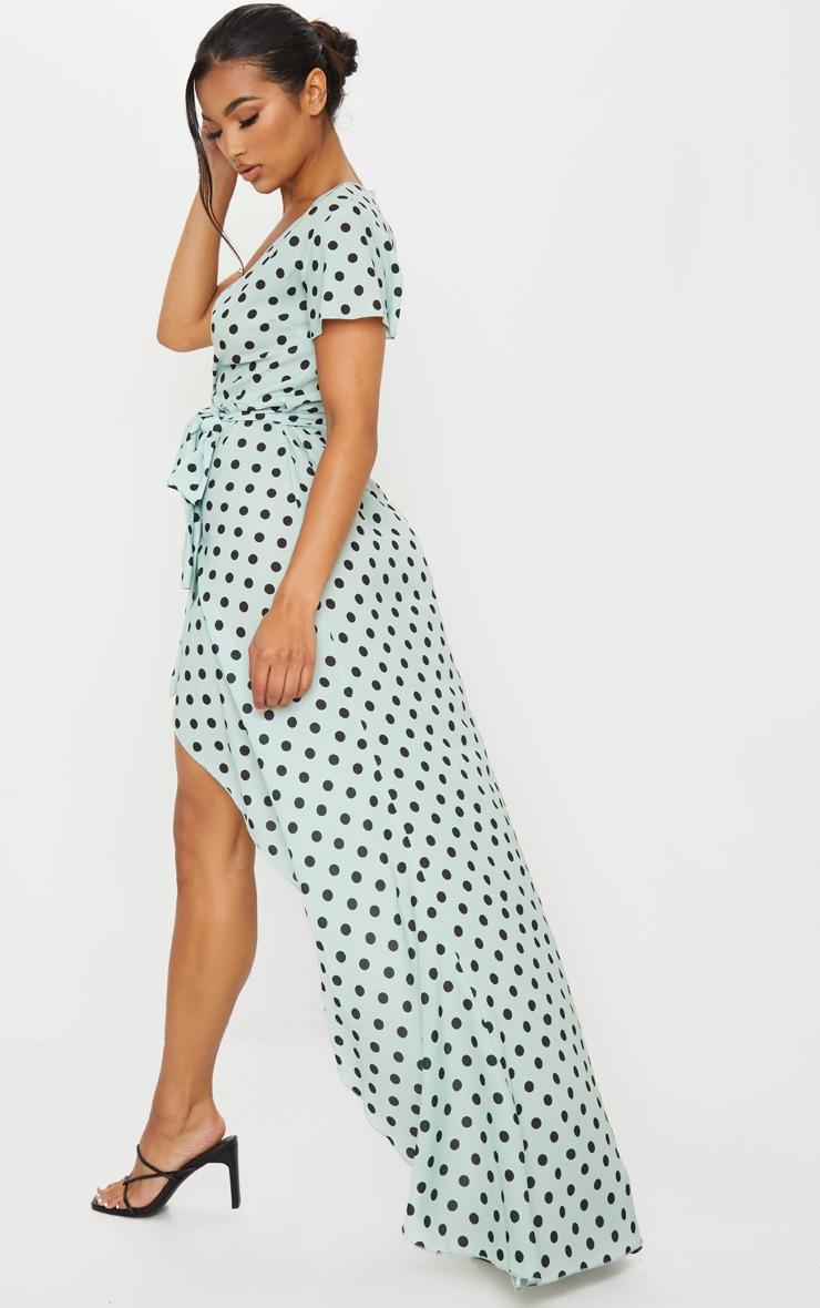 Sage Green Polka Dot Tie Waist Maxi Dress 2