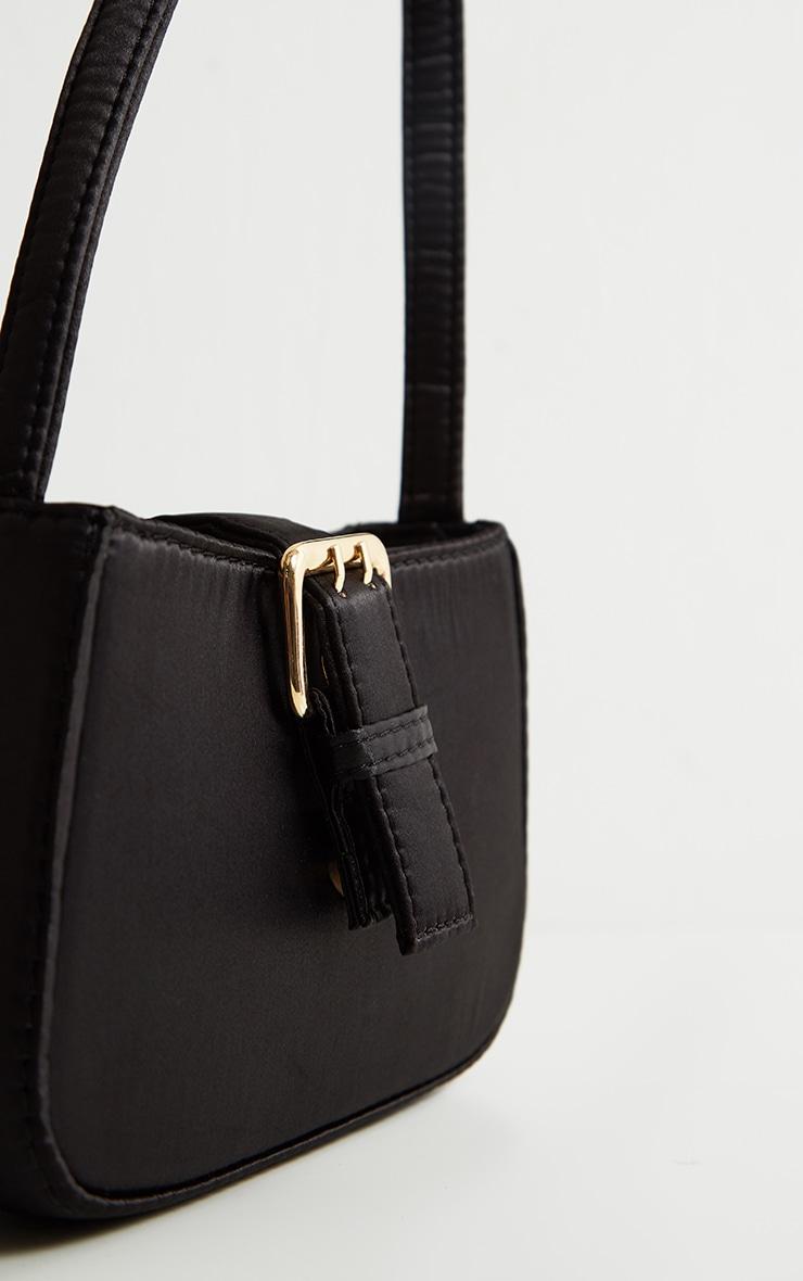 Black Satin Buckle Front Shoulder Bag 3