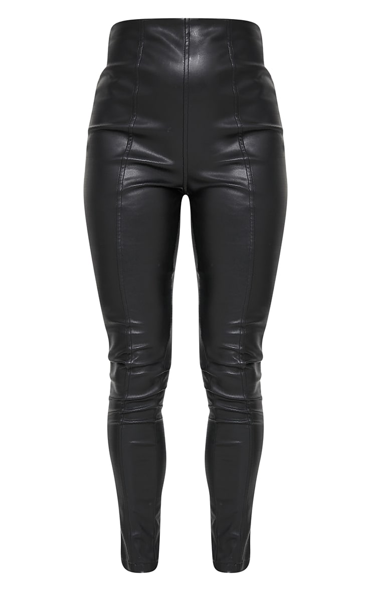 Petite Black Faux Leather Stretch Leggings 5