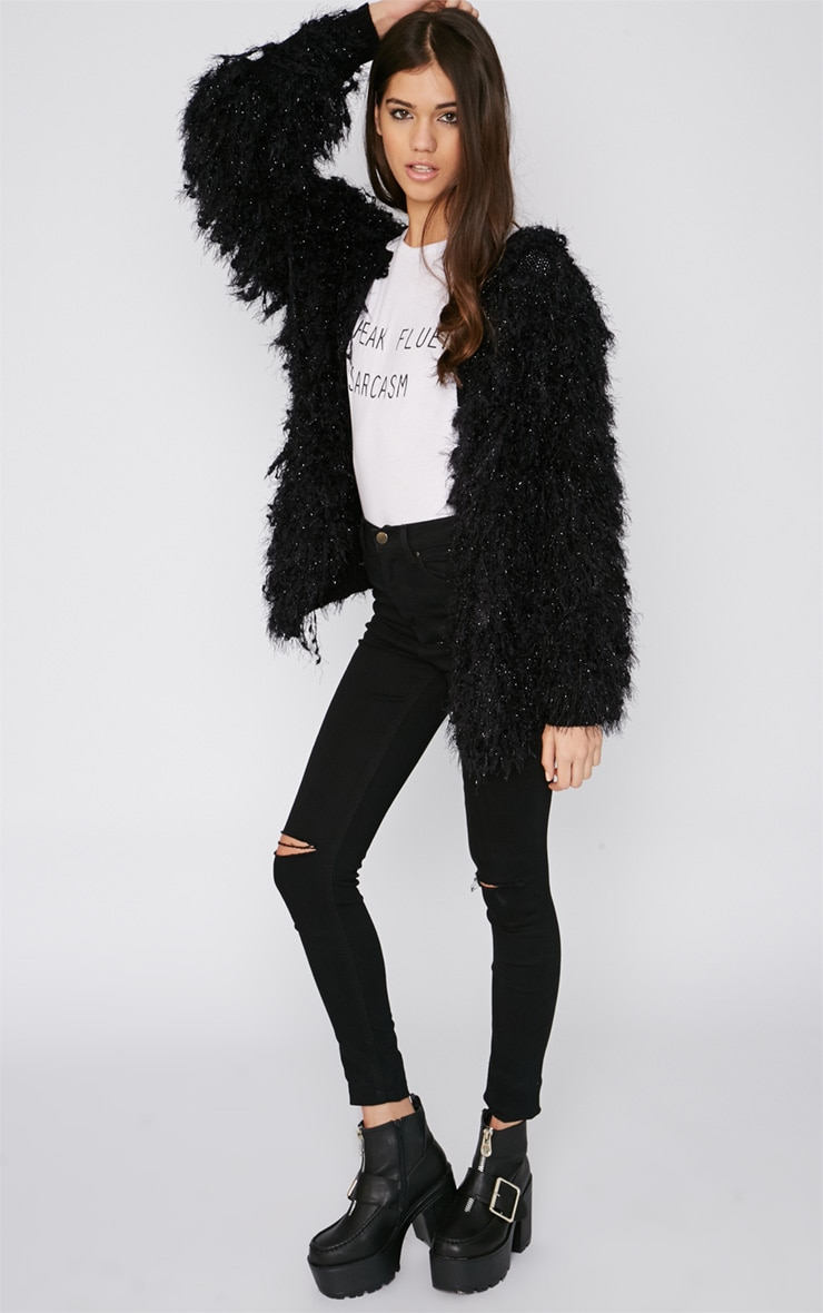 Naima Black Shaggy Knitted Jacket  3