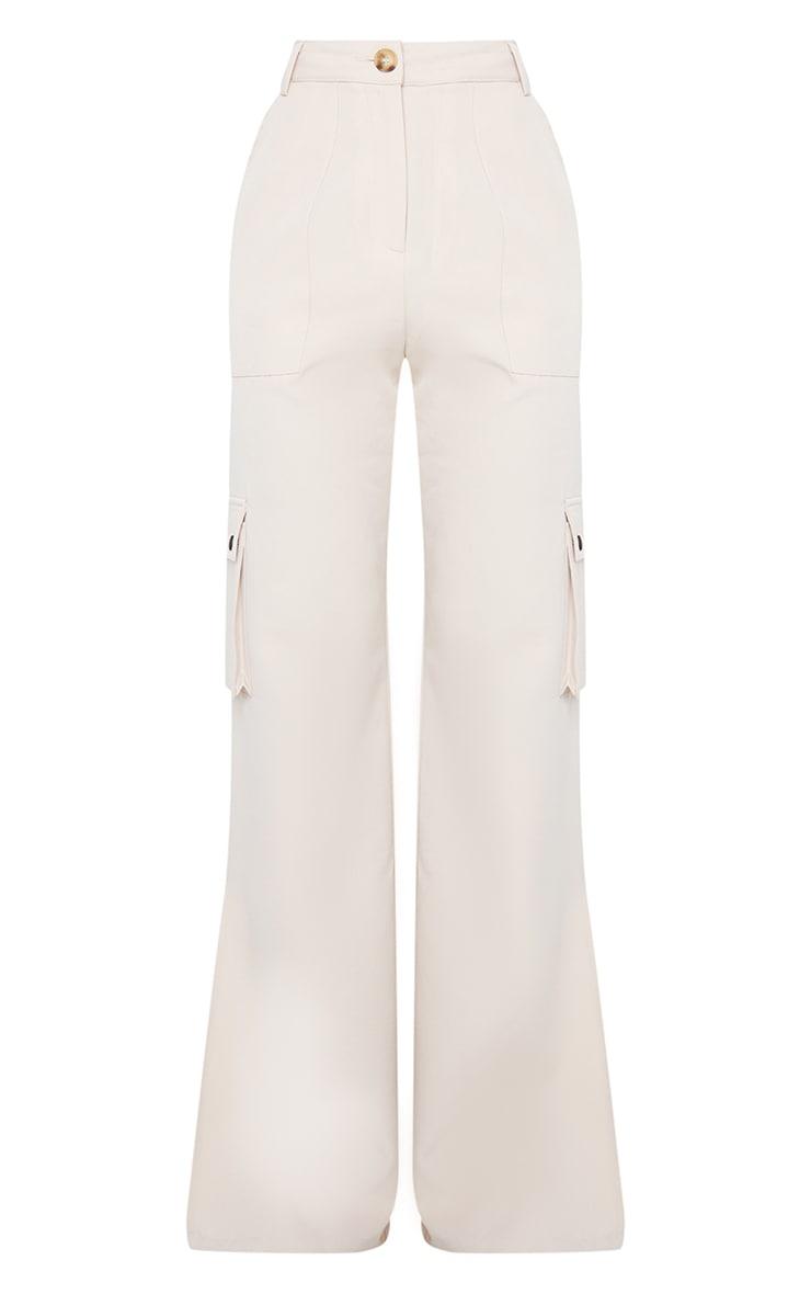 Stone Woven Split Hem Cargo Trousers 5