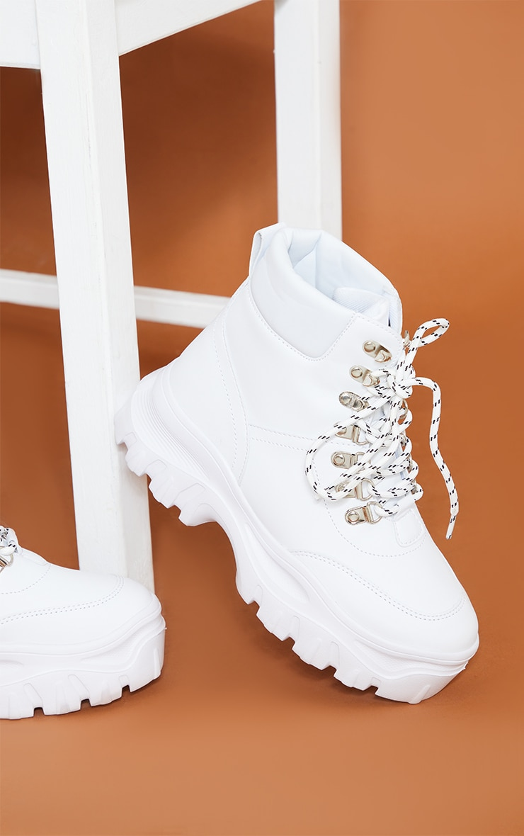 White Flatform Chunky Hiker Boot Sneakers 4