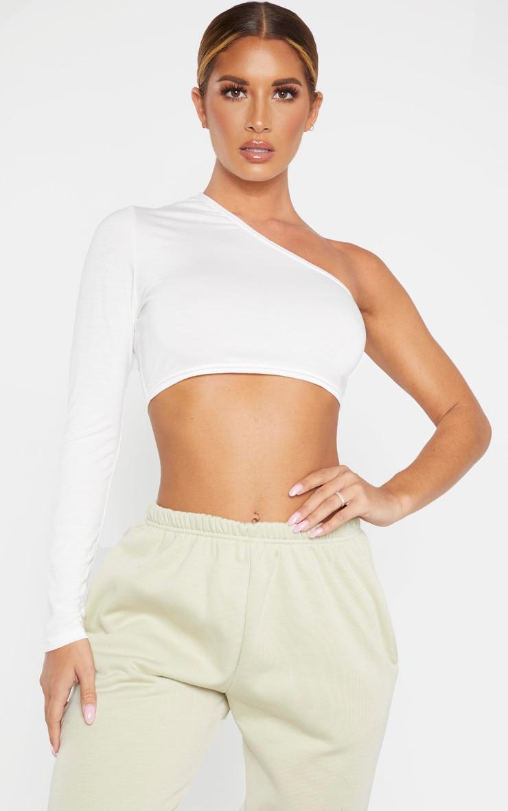 Cream Jersey One Shoulder Crop Top 1