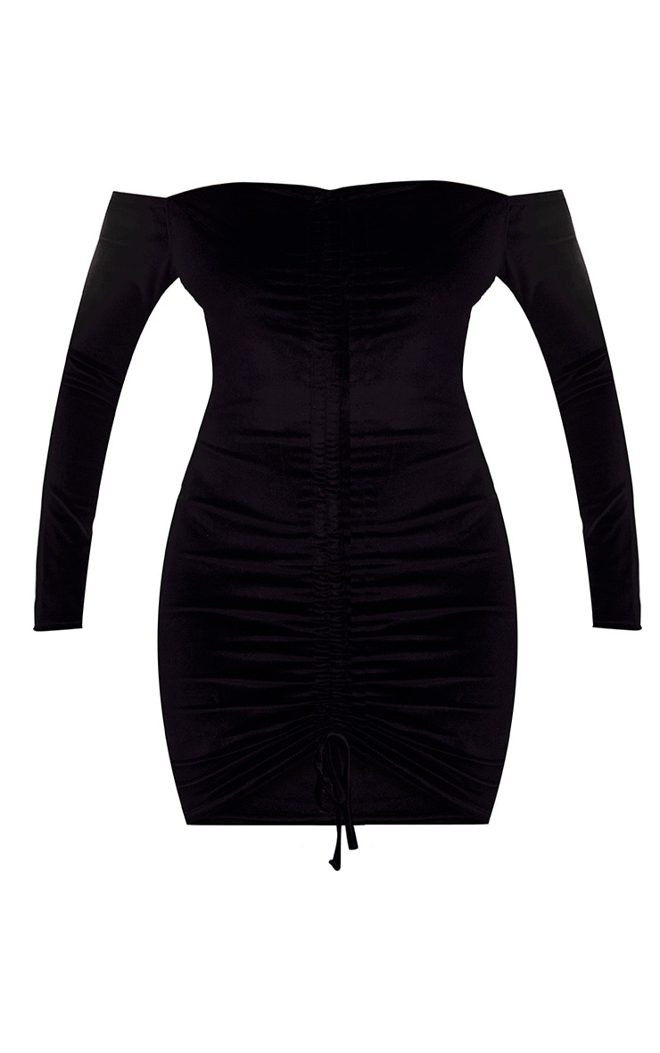 Black Velvet Long Sleeve Bardot Ruched Bodycon Dress 4