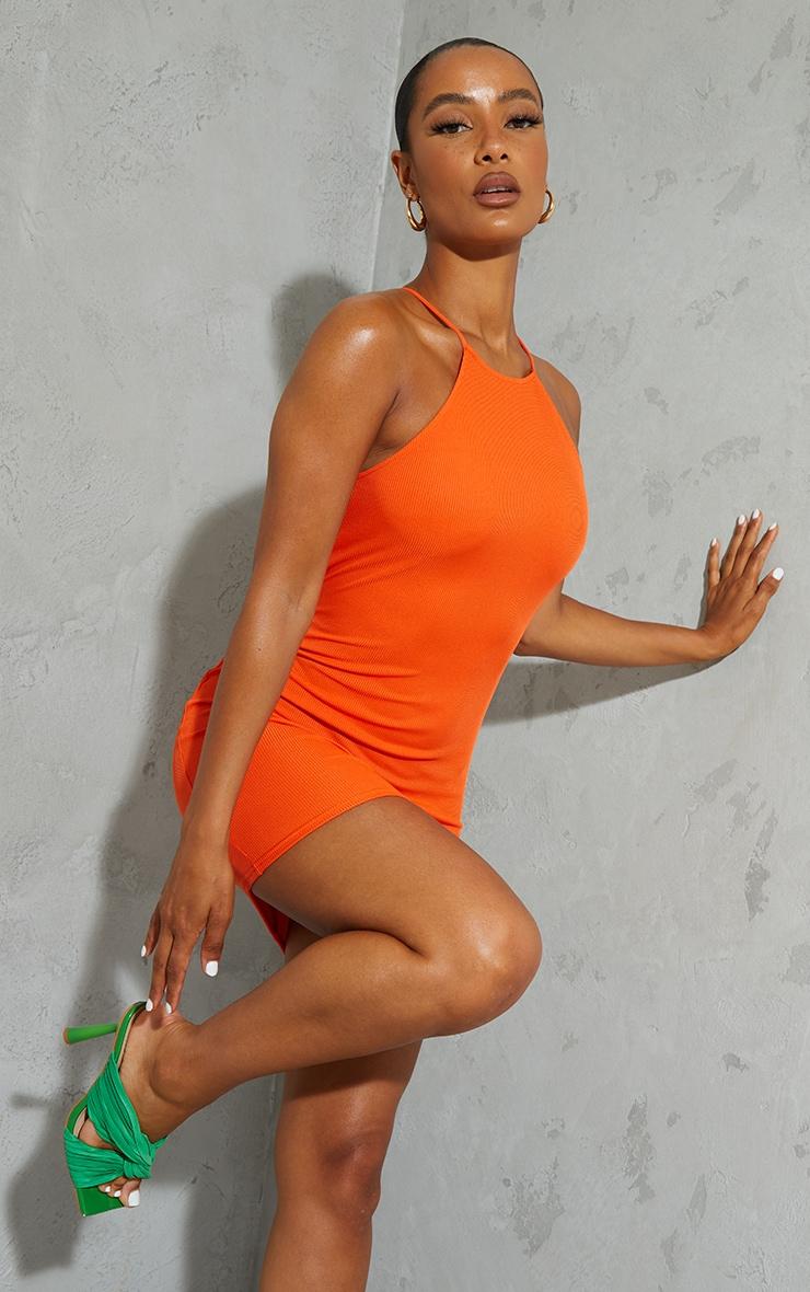 Orange Ribbed High Neck Scoop Armhole Bodycon Dress 1