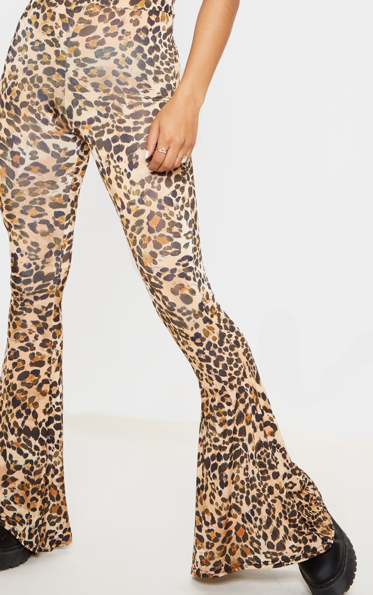 Brown Slinky Leopard Print Flared Pants 5