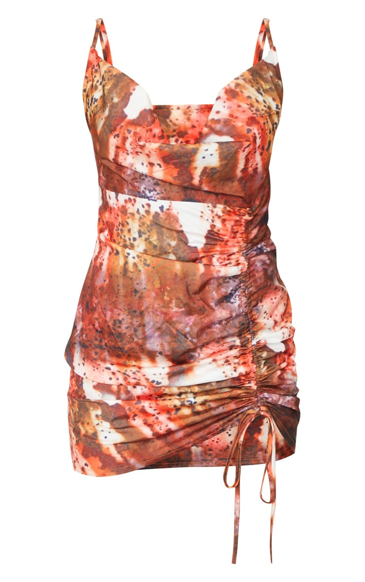 Red Textured Print Cowl Ruched Front Bodycon Dress 5
