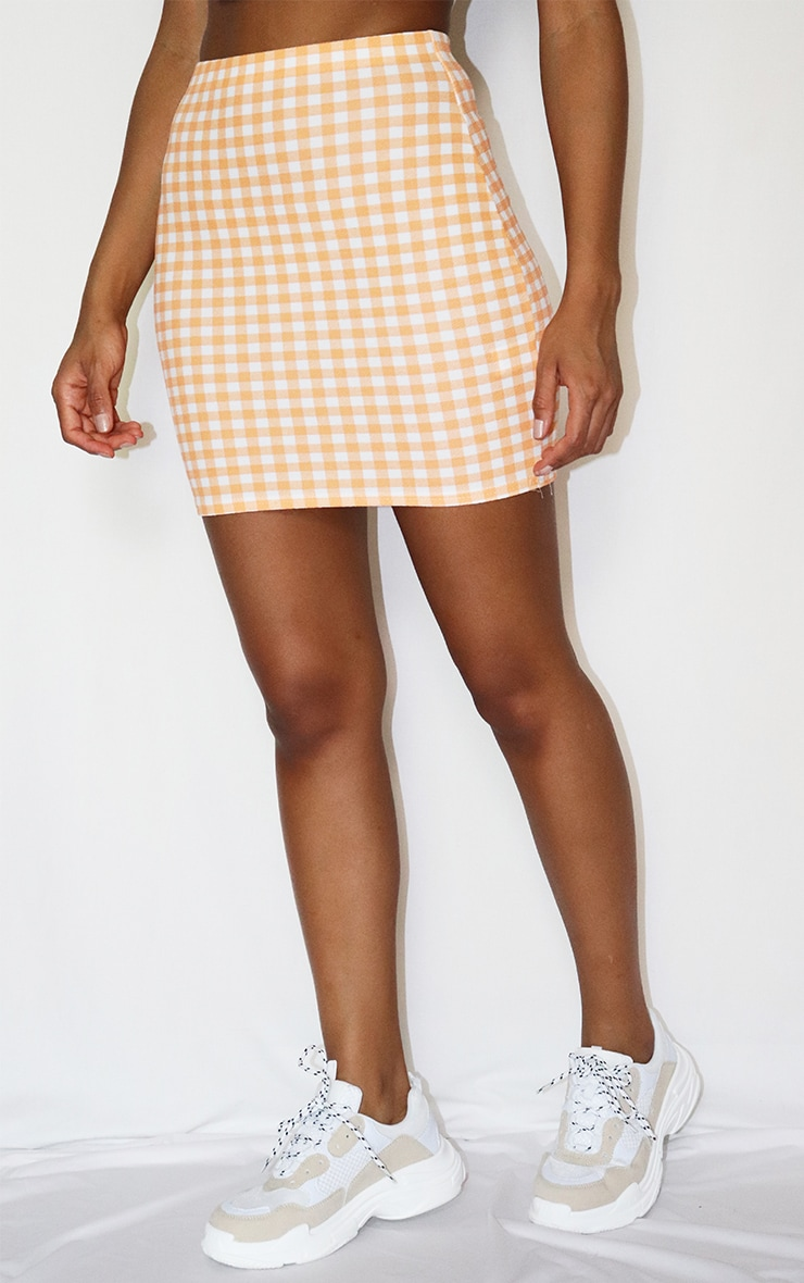 Orange Gingham Mini Skirt 2