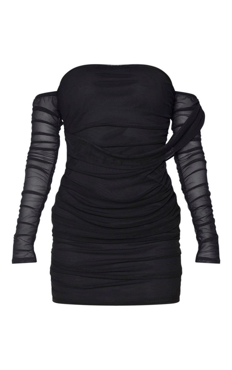 Tall Black Mesh Wrap Bodycon Dress 3