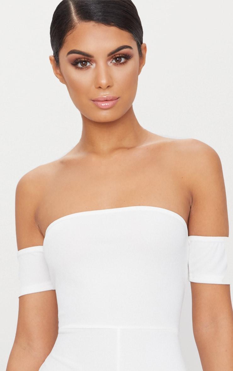 White Crepe Short Sleeve Bardot Playsuit 3
