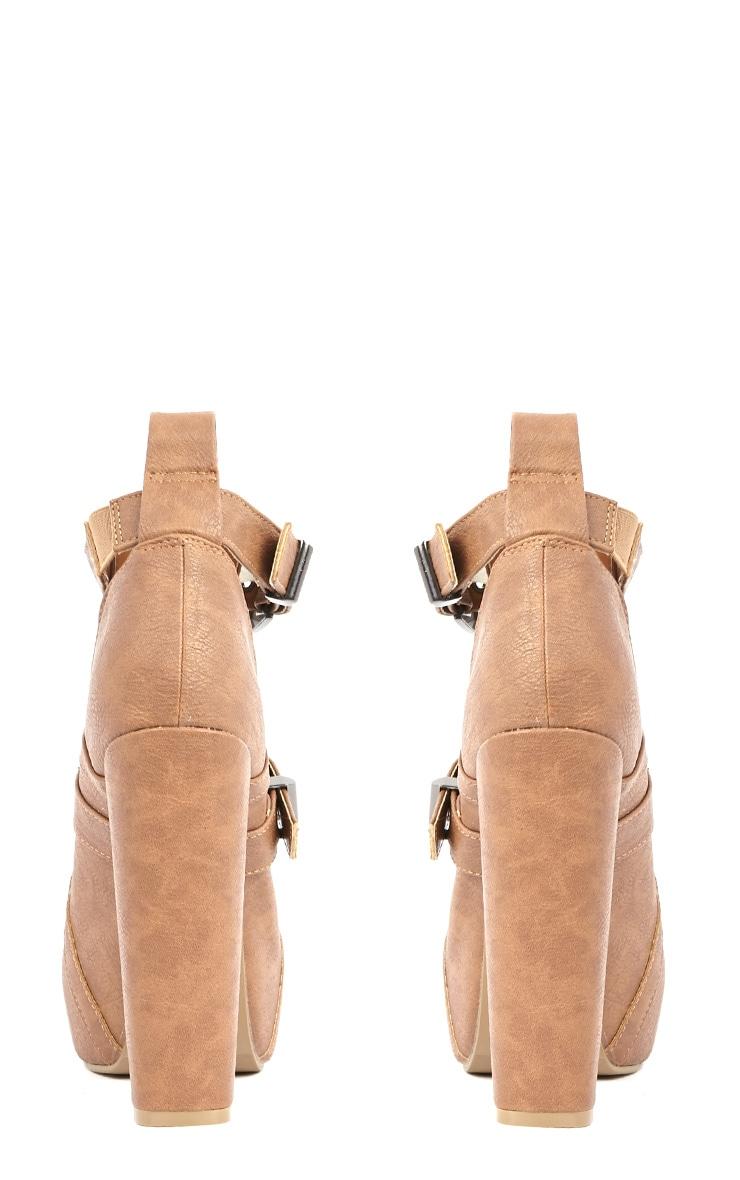 Shannon Tan Leather Platform Buckle Boots 3