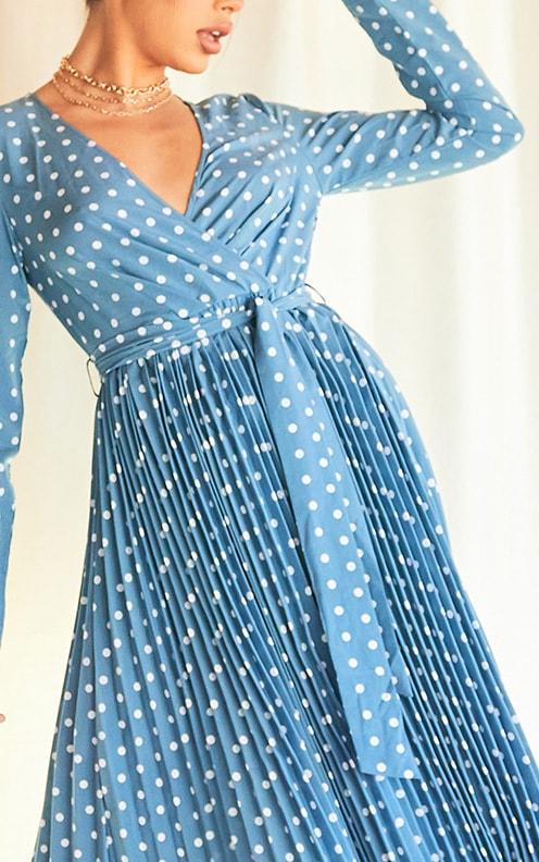 Blue Polka Dot Long Sleeve Pleated Midi Dress 4