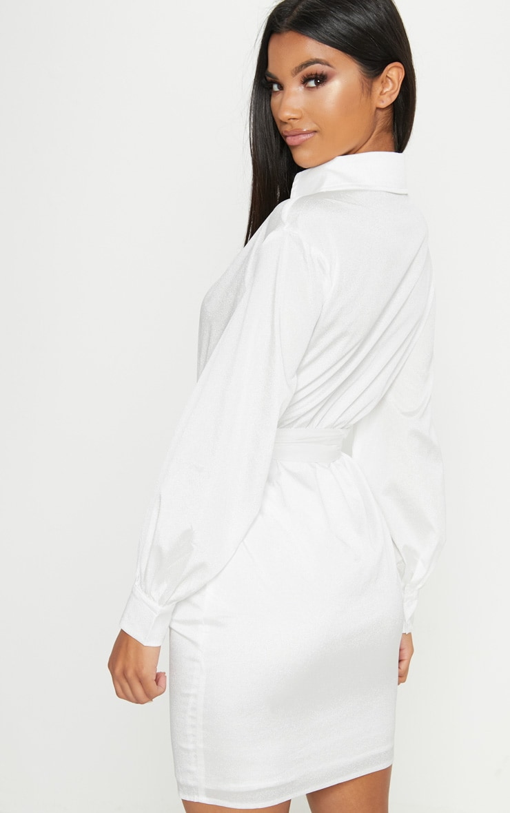 Buy Cheap Popular White Plunge Belted Shirt Dress Pretty Little Thing Footlocker Sale Online QUhNjC1RAB