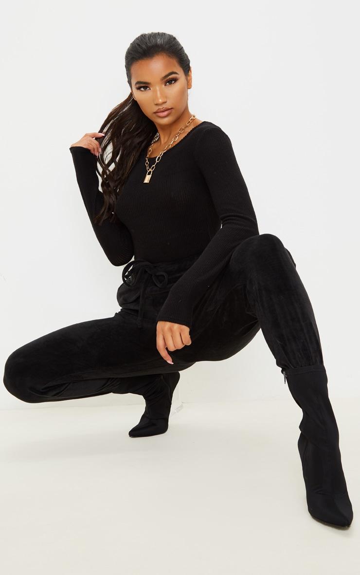 Black Brushed Rib Crew Neck Long Sleeve Bodysuit 5