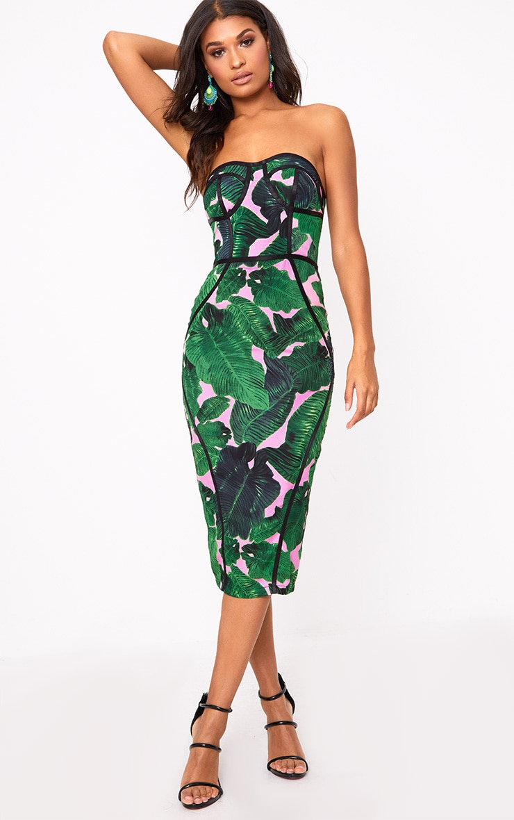 Pink Tropical Print Midi Dress 5