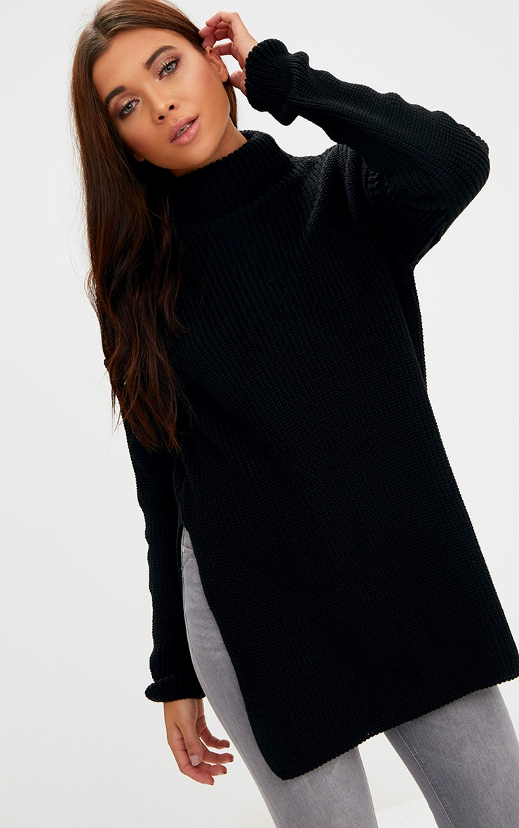 Black High Neck Oversized Jumper
