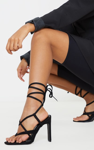 Black Toe Thong Flat Heel Strappy Ankle Tie Sandal