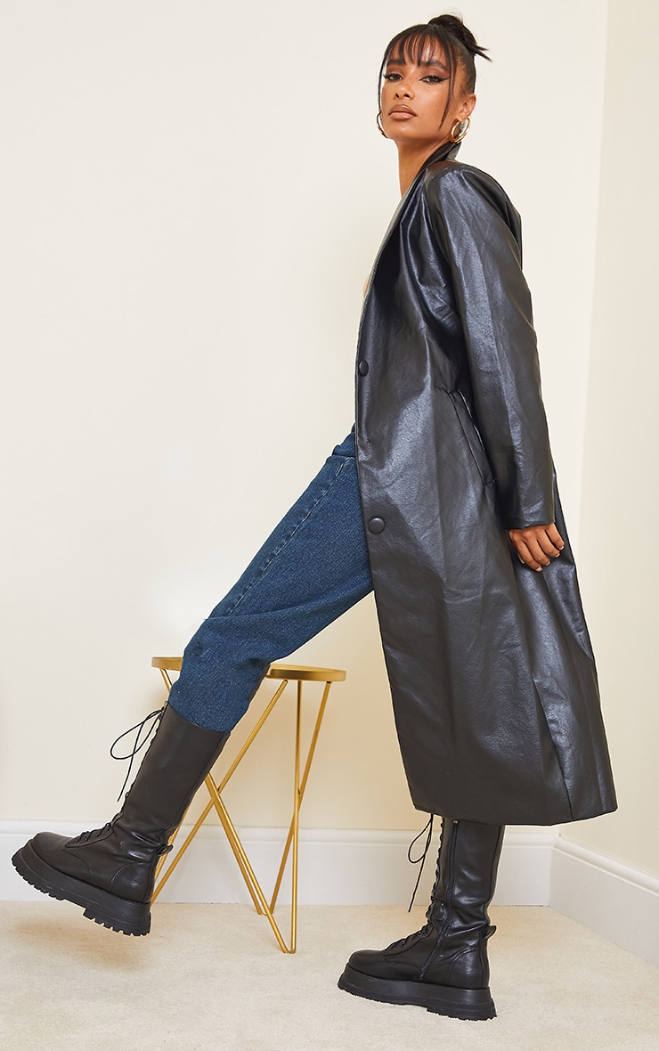 Black Faux Leather Curved Lapel Midi Trench Coat 2