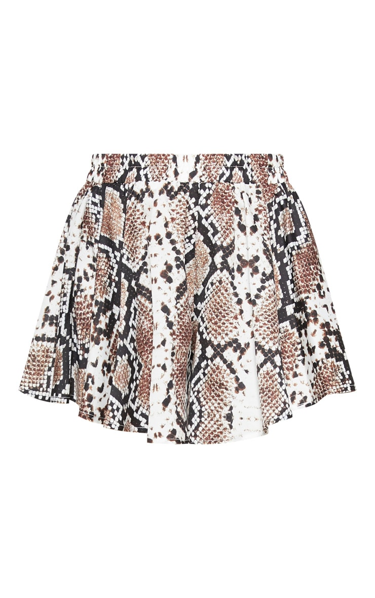 Brown Snake Printed Floaty Shorts 3