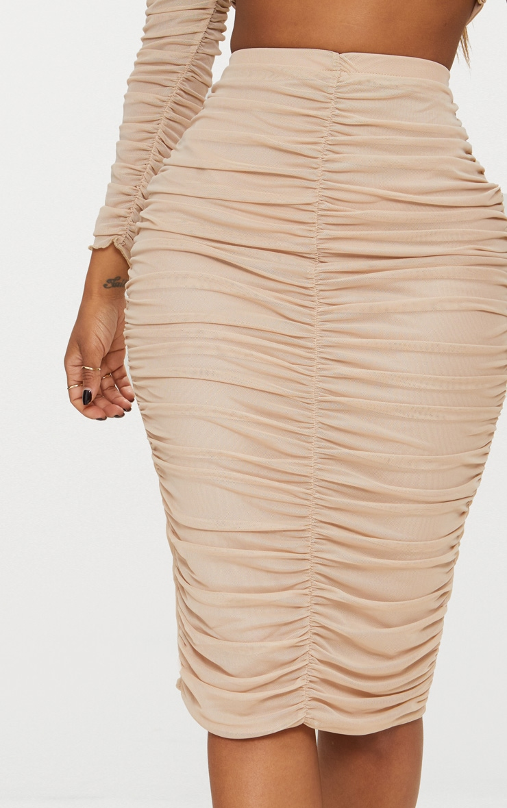 Shape Nude Mesh Ruched Midi Skirt 4