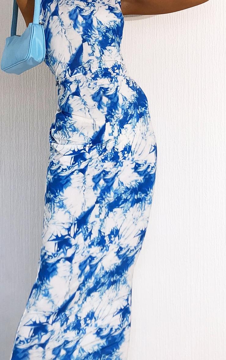 Blue Tie Dye Slinky Halterneck Maxi Dress 4