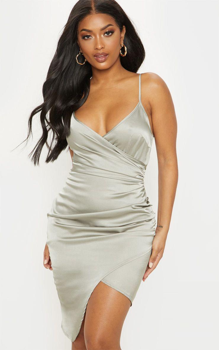 Shape Sage Green Satin Wrap Dress 1