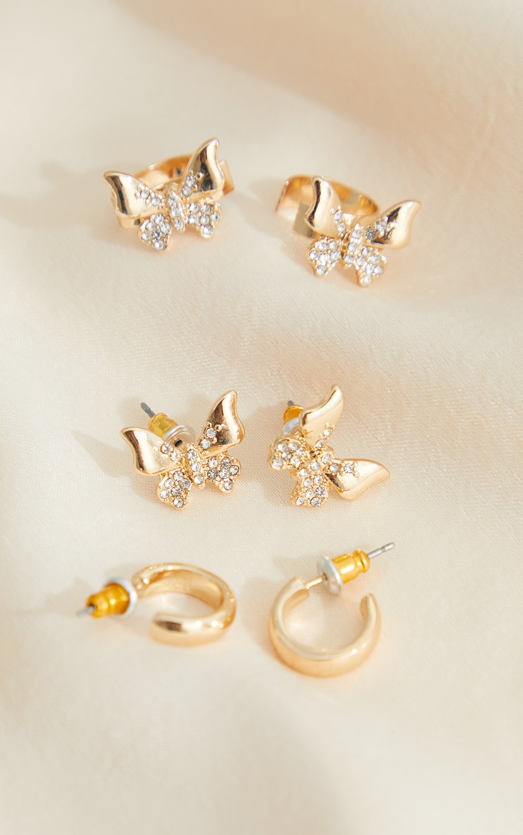 Gold Assorted Butterfly Earing Hoop And Cuff Pack 3