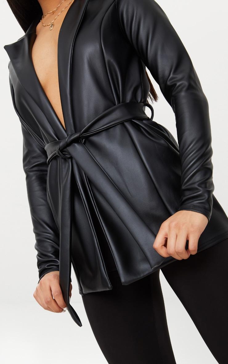 Black PU Belted Blazer  5