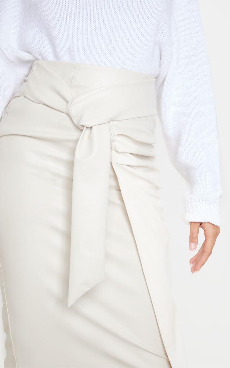 Cream Faux Leather Drape Front Midi Skirt 5