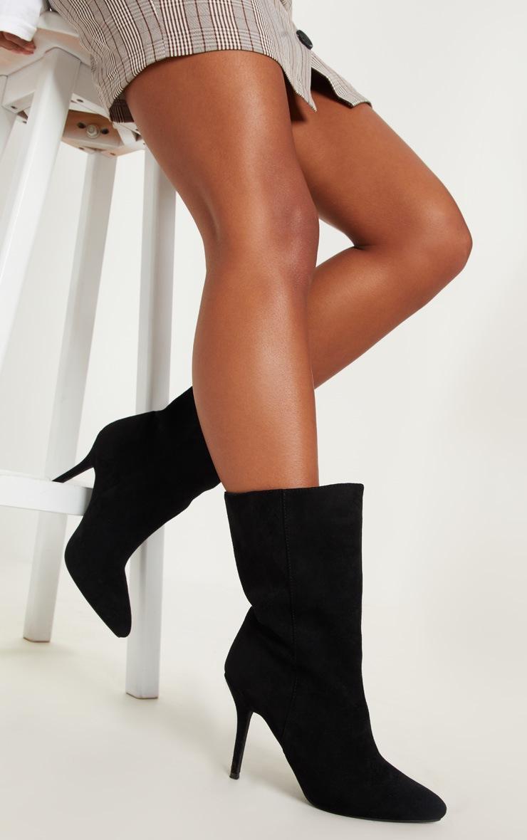 Black Mid Heel Ankle Boot  2