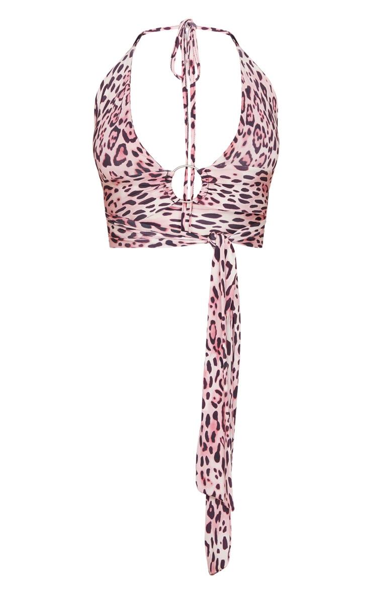 Pink Leopard Slinky Plunge O Ring Bralet 3