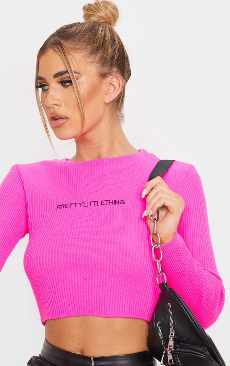 PRETTYLITTLETHING Hot Pink Ribbed Crop Jumper 5