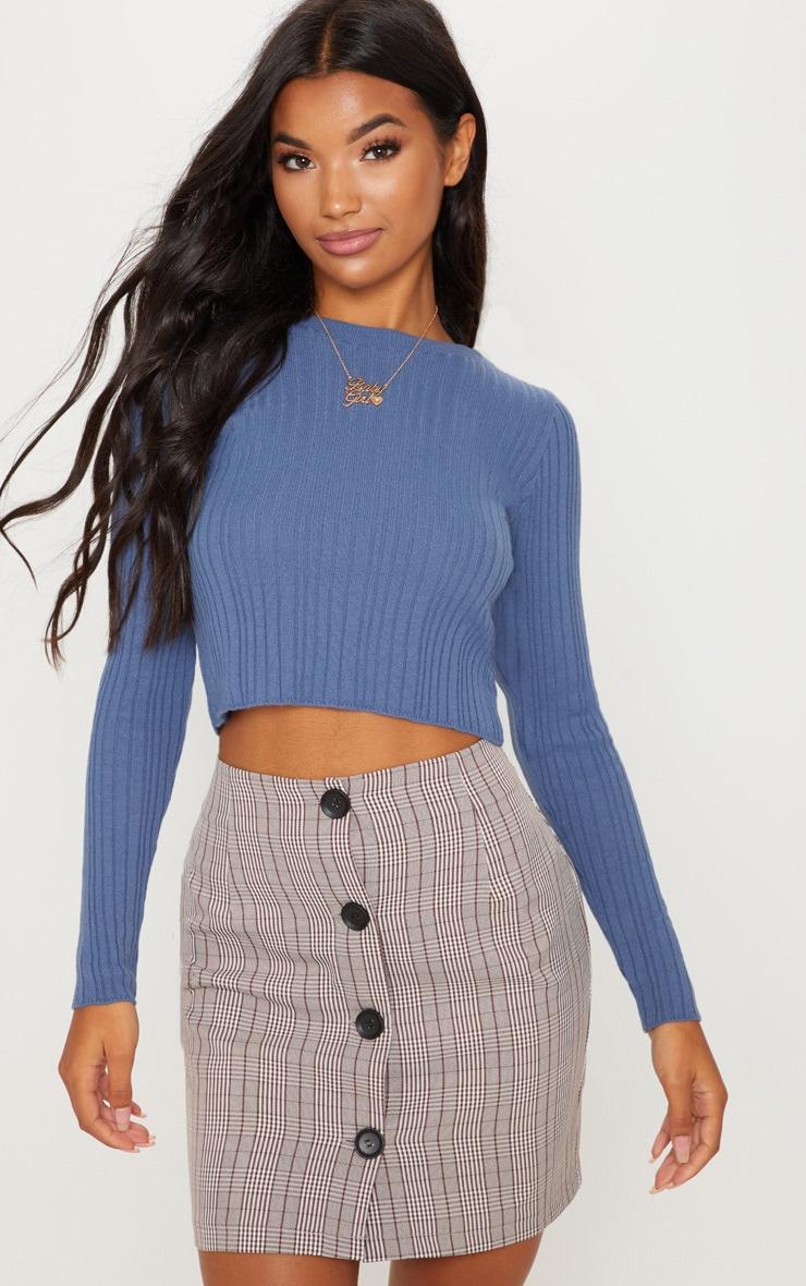 Dusky Blue Long Sleeve Knitted Top