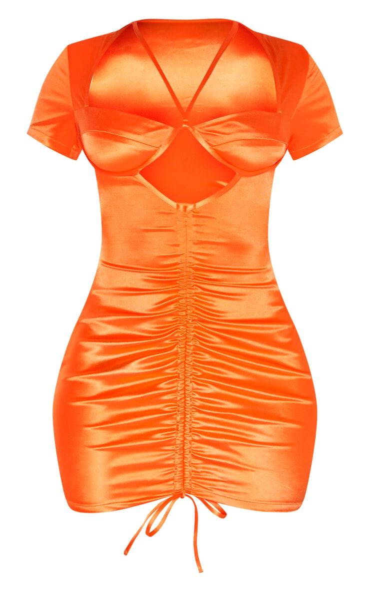 Orange Satin Cup Detail Ruched Front Bodycon Dress 3