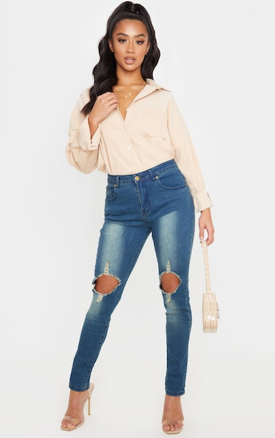 Petite Vintage Wash Distressed Knee Skinny Jean